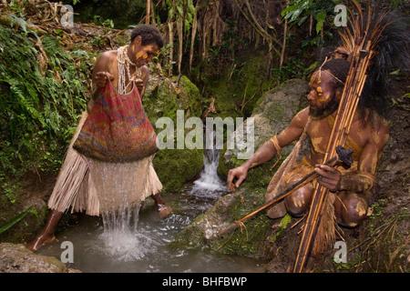 Woman washing coffee beans, Coffee plantation, Langila, Highlands, Papua New Guinea, Oceania - Stock Photo