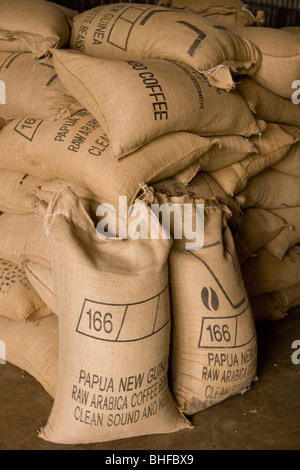 Bags filled with coffee beans, Coffee plantation, Langila, Highlands, Papua New Guinea, Oceania - Stock Photo