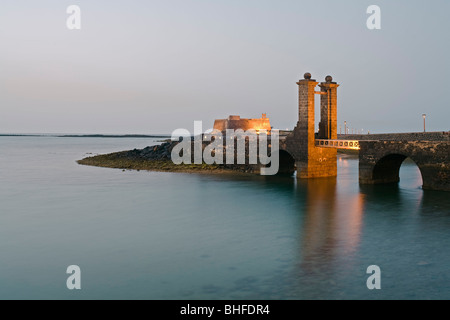 16th. century castle, Castillo de San Gabriel, with drawbridge, bridge, Puente de las Bolas, Arrecife, Lanzarote, - Stock Photo