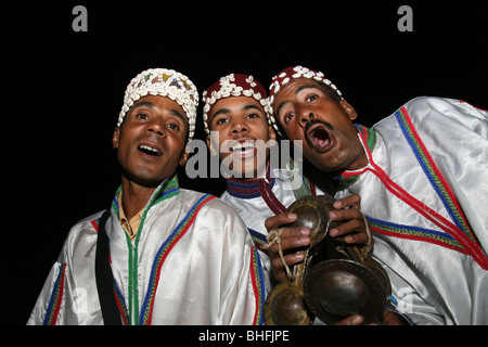 Gnaoua musicians perform during the night in Marrakech, Morocco, North Africa - Stock Photo