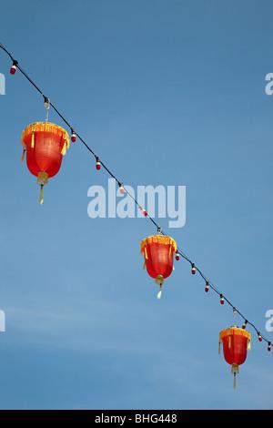 Lanterns in george town chinatown malaysia - Stock Photo