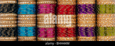 Indian womens bangles pattern panoramic - Stock Photo