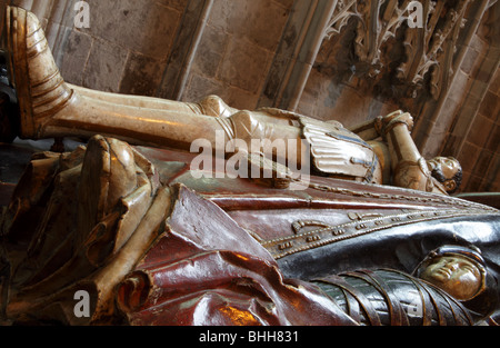 Effigy of Sir Alexander Denton and swaddled infant alongside Anne Wilson who is obscured. - Stock Photo