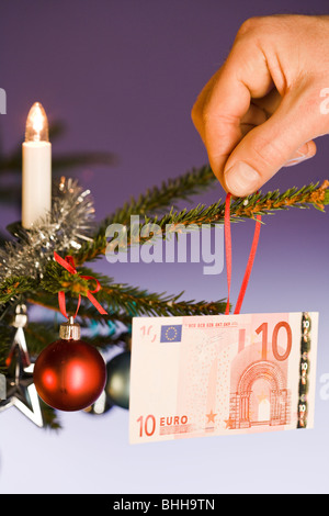 A close-up of a decorated Christmas tree. - Stock Photo