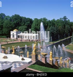 Great Cascade and Samson Fountain, Grand Peterhof Palace, Peterhof, Saint Petersburg, Northwestern Region, Russia - Stock Photo