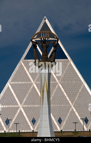 The 'Palace of peace and Concord' pyramid building in Independence Square,in Astana capital of Kazakhstan - Stock Photo