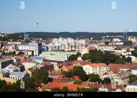 View Of New Town With TV Tower In Background, Vilnius, Lithuania, Baltic States, Eastern Europe - Stock Photo