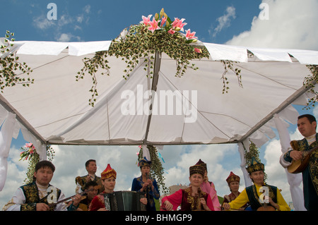 Band music in traditional clothes. Kazakhstan - Stock Photo