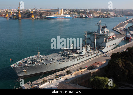 The Royal Fleet Auxiliary naval resupply ship Wave Ruler in Malta's Grand Harbour - Stock Photo