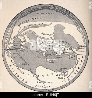 cartography, world maps, ancient world, earth map after Homer, reconstruction, 19th century, Europe, Africa, Asia, - Stock Photo