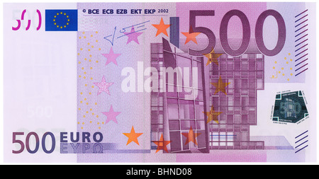 500 euros banknote front side plain flat. NATIVE SIZE, NOT UPSCALED. - Stock Photo