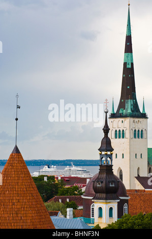 View from the heights of Toompea over the Old Town to the cruise port, Tallinn, Estonia - Stock Photo