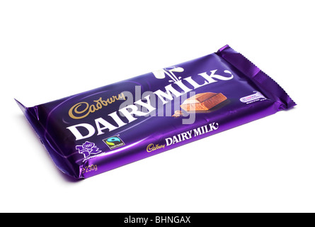 Cadburys Dairy Milk chocolate bar in foil wrapper cutout - Stock Photo