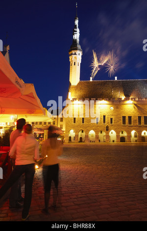Estonia, Eastern Europe, Baltic States, Tallinn, Fireworks In Town Hall Square (Raekoja Plats) To Mark Independence - Stock Photo
