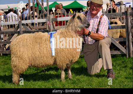 Farmer with Champion Wensleydale sheep at a show. - Stock Photo
