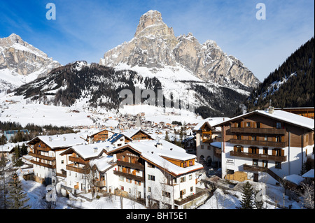 View over the centre of the resort of Corvara, Sella Ronda Ski Area, Alta Badia, Dolomites, Italy - Stock Photo