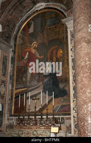 Rome, Italy. Saint Peter's basilica in the Vatican. Mosaic on the Altare del sacro cuore di Gesù. - Stock Photo