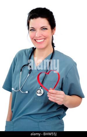 Nurse Wearing Hospital Scrubs - Stock Photo