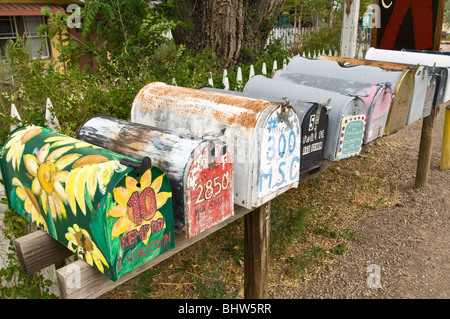 Colorful mailboxes in Madrid, New Mexico. - Stock Photo