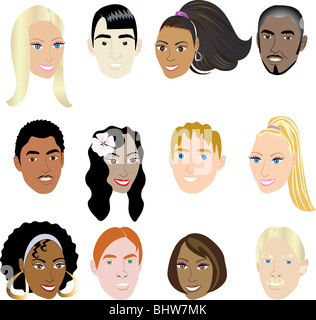 People Faces 2. Vector Illustration set of 12 peoples on a diverse set of cultures. Also available in other sets. - Stock Photo