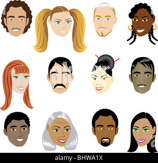 People Faces 1. Vector Illustration set of 12 peoples on a diverse set of cultures. Also available in other sets. - Stock Photo