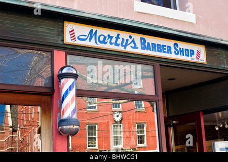 A barber shop storefront in Sag Harbor, NY. - Stock Photo