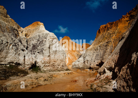 Morro Branco beach multi-colored cliffs and labyrinths, Ceara State, Northeast Brazil. - Stock Photo