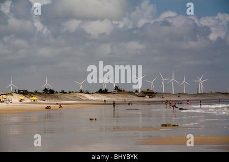 Wind farm, Morro Branco beach, Ceara State, Brazil. - Stock Photo