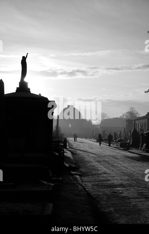 View down the Central Avenue to the Octagon Chapel in the Brompton Cemetery, West Brompton, London, UK - Stock Photo