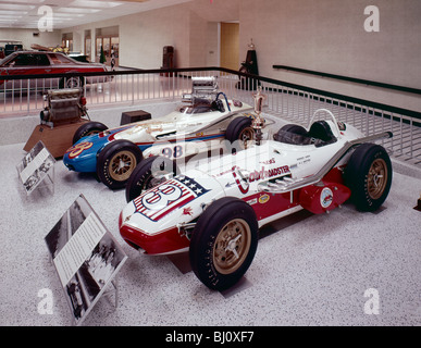 Vintage racing cars on display at the Indianapolis Motor Speedway and Hall of Fame Museum, Indianapolis, Indiana, - Stock Photo
