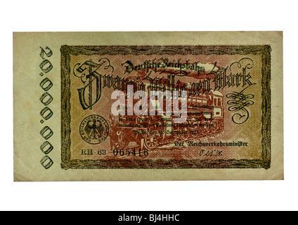 Front, banknote over twenty million dollars, Berlin, September 18th 1923, German Empire Railways, public funds, - Stock Photo