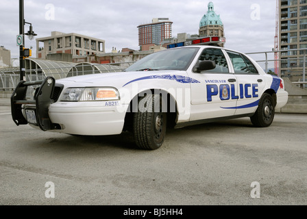 Vancouver Police car blocking the roadway. - Stock Photo