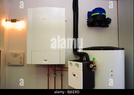 Paris, France, Construction Equipment  Be-Green Eco-House, Heating Installation, Low Energy Consumption Boiler - Stock Photo