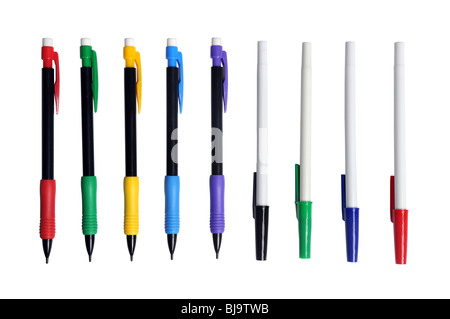 Pencils and pens of different colors isolated over white background - Stock Photo