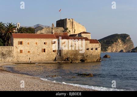 Budva,old town peninsula,fortification walls,Adriatic coast,Montenegro - Stock Photo