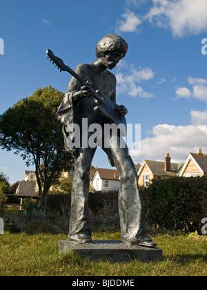 Statue of Jimi Hendrix at Dimbola Lodge Freshwater Isle of Wight UK - Stock Photo
