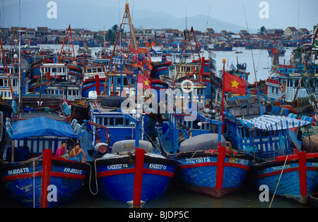 Fishing Boat in the habour of Nha Trang - Stock Photo