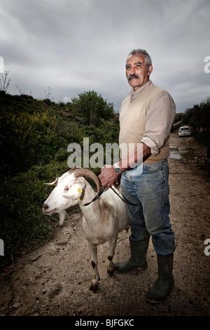 goats sheep farming farmer Gozo malta maltese farm - Stock Photo