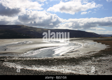 Mawddach estuary at low tide seen from the sand dune spit of Fairbourne, Gwynedd, north Wales, UK, Europe - Stock Photo