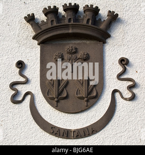 The coat of arms of the town of Santana on the island of Madeira, Portugal. - Stock Photo