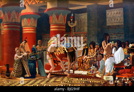 This painting depicts singing, dancing, and playing instruments in ancient Egypt. - Stock Photo