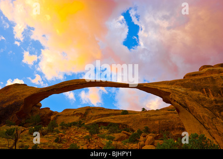 Landscape Arch, Arches National Park, Utah, One of the world's longest natural spans, Devils Garden - Stock Photo