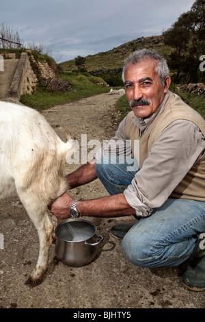 Ta' Rikkardu restaurant and Goat's Cheesemaking process, Gozo, Malta - Stock Photo
