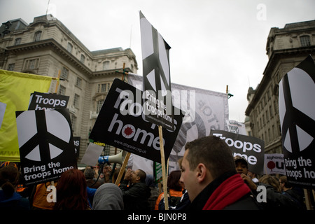 2009 anti war protest in London. - Stock Photo