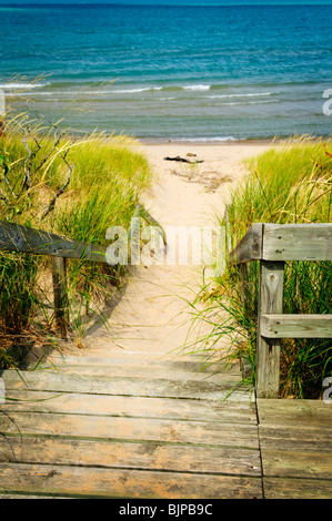 Wooden stairs over dunes at beach. Pinery provincial park, Ontario Canada - Stock Photo
