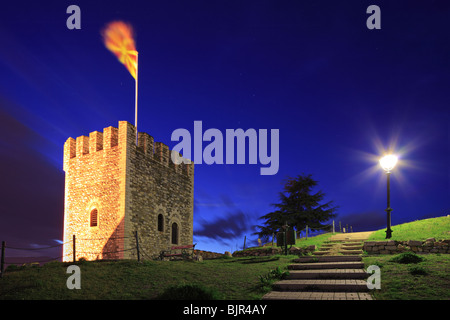 A view of a watchtower with a macedonian flag in Skopje at night - Stock Photo