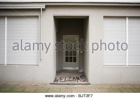 Graffiti on a doorway - Stock Photo