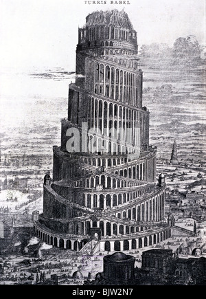 ancient world, Babylon, Tower of Babel, copper engraving, circa 17th / 18th century, historic, historical, towers, - Stock Photo