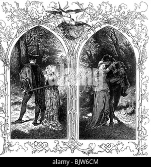 literature, 'Faust I', 12th scene 'Garden', Gretchen and Faust, wood engraving by W. Hecht, circa 1870, Additional - Stock Photo