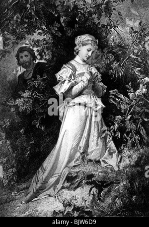 literature, 'Faust I', 12th scene 'Garden', Gretchen and Faust, wood engraving by Alexander Liezen Mayer, circa - Stock Photo